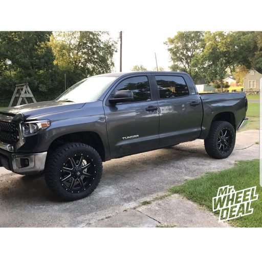 "2018 Toyota Tundra with 22x9.5"" Black Fuel Maverick 25mm wheels and 35x12.50R22LT Fury Offroad Country Hunter RT tires"