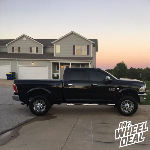 """20x10"""" Chrome Fuel Off-Road Maverick -12mm wheels and 35x12.50R20LT Toyo Open Country RT tires on a 2018 Ram 2500"""