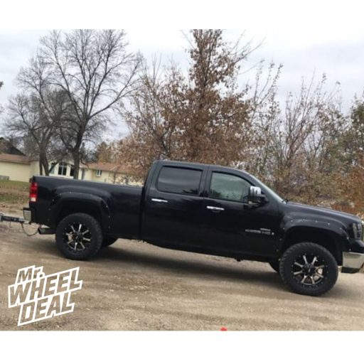 """2008 GMC Sierra 2500HD with 20x9"""" Moto Metal MO970 18mm Black wheels and LT285/60R20 Cooper Discoverer ST Maxx tires"""