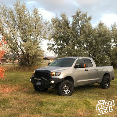 "2007 Toyota Tundra with 18x9"" Black Machined Vision Nemesis 18mm wheels and LT285/65R18 Nitto Terra Grappler G2 tires"