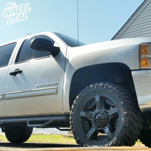 "20x9"" Black XD Rockstar II wheels +18mm with 295/55/20 Nitto Trail Grappler tires on a 2012 Chevy Silverado 1500"