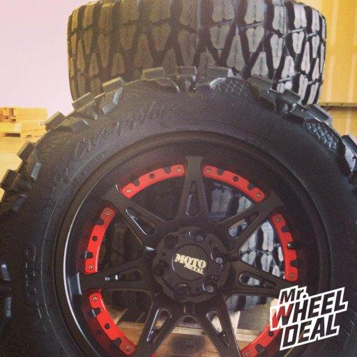 "20x10"" Moto Metal 961 Matte Black Wheels with 35x12.50x20 Nitto Mud Grappler Tires"