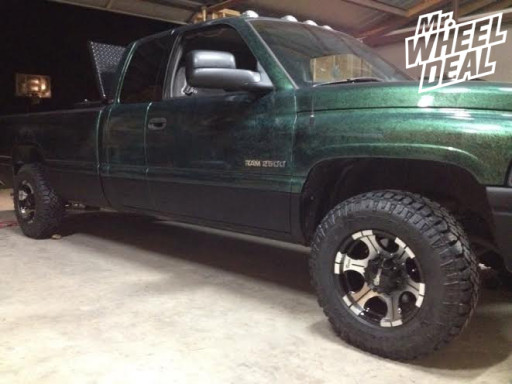 16x8 Dick Cepek DC-2 Black Machined Wheels with 245/75/16 Duratrac Tires on a Ram 2500