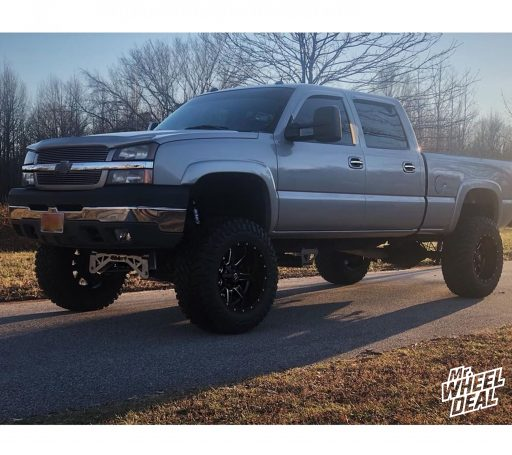 "20x12"" Fuel Off-Road Maverick -44mm Black wheels with 37x13.50R20LT Atturo Trail Blade MT tires on a 2004 Chevy Silverado 2500"