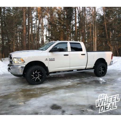 20x12 Black Vision Prowler wheels with 305/55R20 AMP Pro AT tires on a 2016 Ram 2500