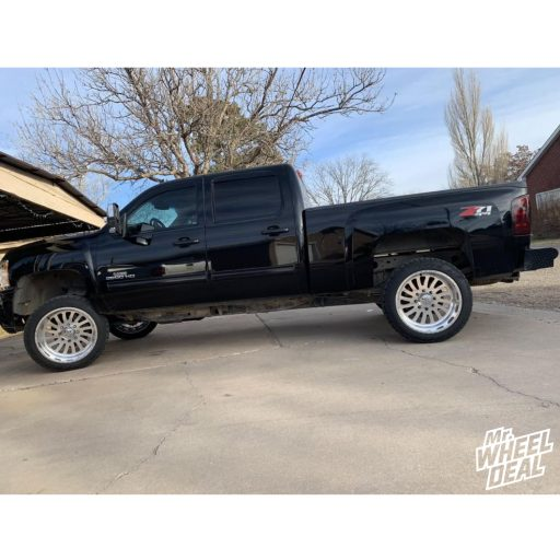 """22x12"""" Polished American Force Octane SS wheels with 33x12.50R22LT Toyo Open Country A/T II tires on a 2011 Chevy Silverado 2500HD"""