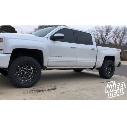 """20x10"""" Hostile Sprocket -19mm Black Milled wheels with LT295/55R20 Toyo Open Country AT II tires on a 2016 Chevy Silverado 1500"""