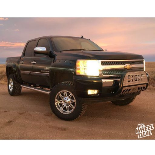 "2009 Chevy Silverado 1500 with 18x9"" Fuel Off-Road Hostage -12mm Chrome wheels and 33x12.5R18LT Atturo Trail Blade XT tires"