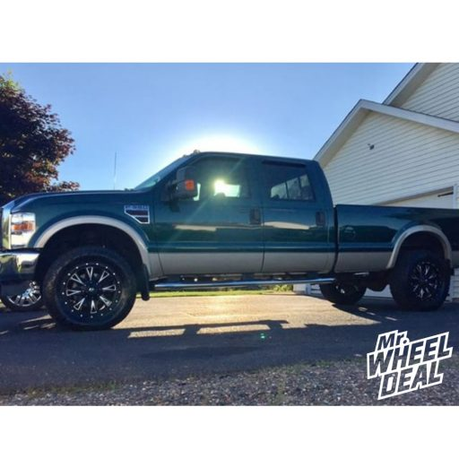 """20x9"""" Black Fuel OffroadThrottle 1mm wheels with 35X12.50R20LT Toyo Open Country AT II tires on a 2008 Ford F-350"""