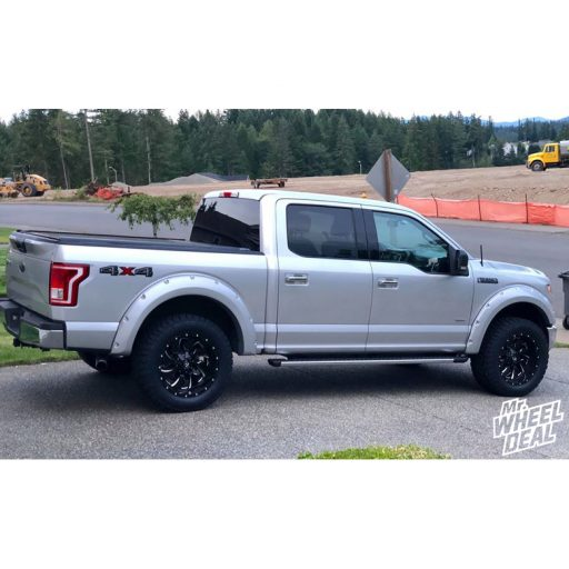 """20x10"""" Fuel Off-Road Cleaver Black Milled -18mm wheels with LT305/55R20 Nitto Terra Grappler G2 tires on a 2015 Ford F-150"""