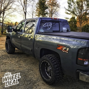 2009 Chevy Silverado 1500 with 20x12 -44mm Gray Moto Metal 962 wheels and 33x12.50R20LT Federal Couragia MT tires