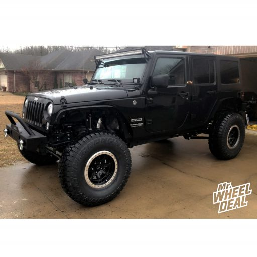 2018 Jeep JKU Wrangler Sport with 17x8.5 -20mm Black DV8 Offroad 882 wheels and 37x12.50R17LT Fury Offroad Country Hunter RT tires