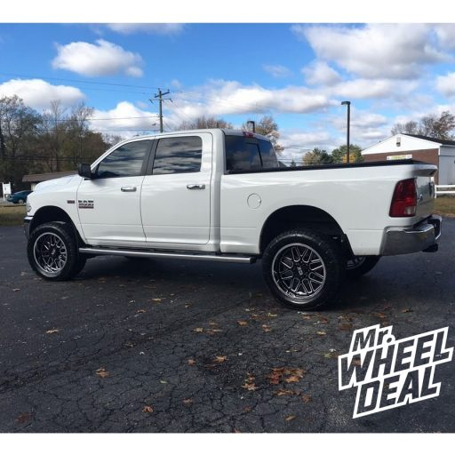 22x10 XD XD201 -18mm Black Milled Chrome wheels with 35x12.50R22LT Nitto Terra Grappler G2 tires on a 2016 Ram 2500