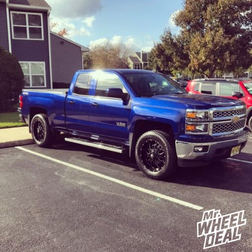 """2014 Chevy Silverado 1500 with 20x9"""" Ballistic Tank 12mm Black wheels and 275/60R20 Nokian Rotiiva AT tires"""