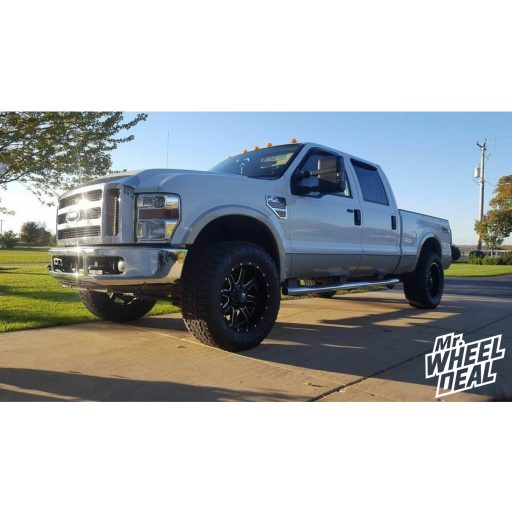 """20x10"""" Black Milled Fuel Off-Road Maverick wheels with 35x12.50R20 Nitto Terra Grappler G2 tires on a 2008 Ford F-250"""