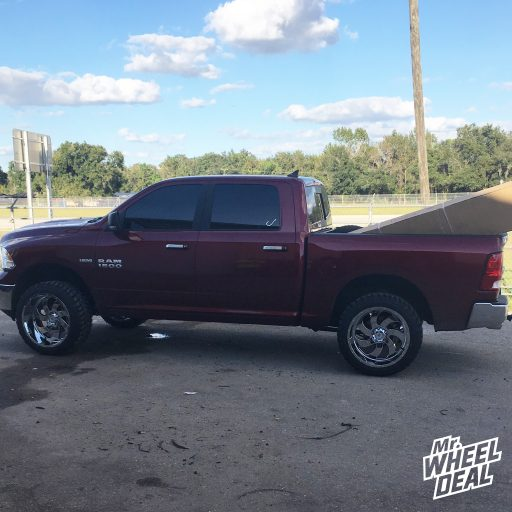 2018 Ram 1500 with 22x12 Chrome Xtreme Force XF1 -44mm wheels with 33x12.50R22LT Road One Cavalry M/T tires