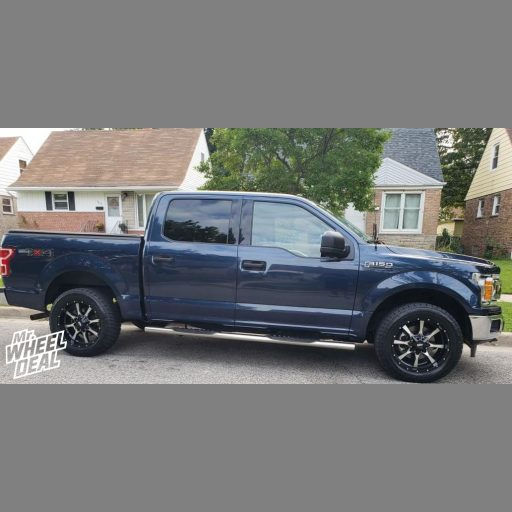 """2018 Ford F-150 with 20x9"""" Black MO970 Black wheels and 275/55R20XL Nitto Terra Grappler G2 tires"""