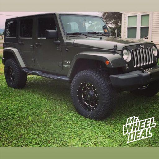 "2016 Jeep Wrangler Sahara with 18x9"" Black Fuel Boost -12mm wheels and 35X12.50R18LT Atturo Trail Blade XT tires"