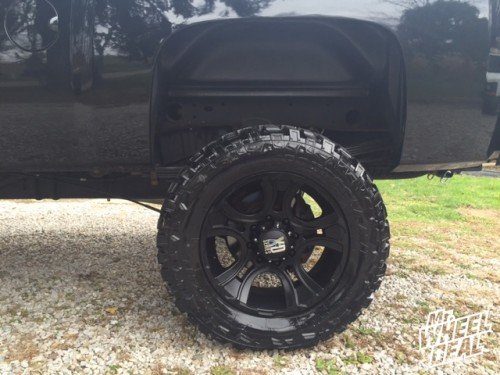 """20x9"""" Matte Black XD Series Crank wheels with 35X12.50R20 Federal Couragia MT tires on a 2013 Chevy Silverado 2500"""