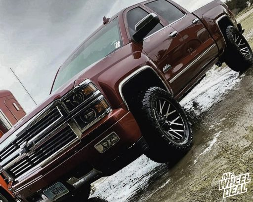 """2015 Chevy Silverado 1500 with 20x10"""" -25mm Black Machined Dropstars 654MB wheels and LT305/55R20 AMP Terrain Gripper AT G tires"""
