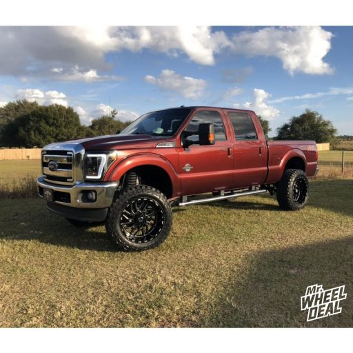 22x12 Black Milled TIS 544BM -44mm wheels with 37x13.50R22LT Fury Offroad Country Hunter MT tires on a 2015 Ford F-250