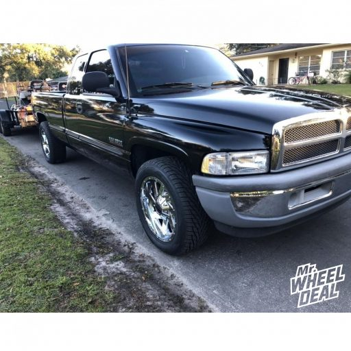 1999 Dodge Ram 2500 with 20x9 0mm Chrome Moto Metal MO988 wheels and 275/55R20 Toyo Proxes S/T tires