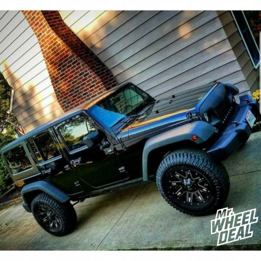 2017 Jeep Wrangler Sport with 18x9 K2 Dome -12mm Black wheels and 35X12.50R18LT Atturo Trail Blade XT tires