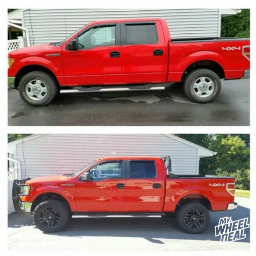 """20x9"""" Fuel Pump Matte Black wheels with 305/55/20 Falken Wildpeak AT3 tires on a 2014 Ford F150"""