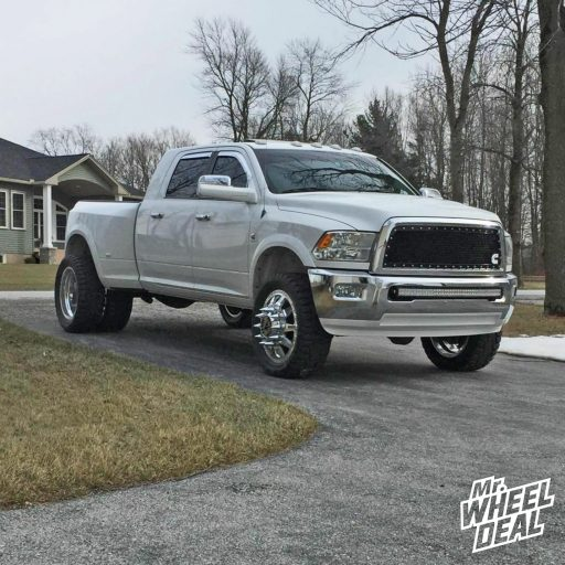 2010 Ram 3500 Dually with 22x8.25 AF Independence Polished Dually wheels and 35x12.50R22 Toyo Open Country RT tires